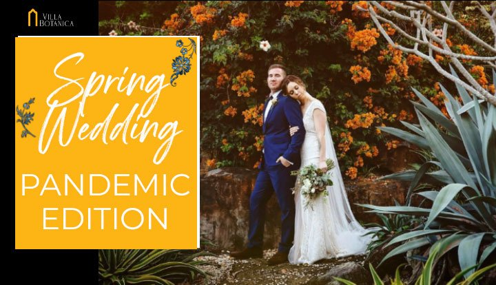 wedding couple close together having a spring wedding at Villa Botanica